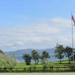 Utsikten fra Motellet mot sjøen på Austrått Camping og Motel